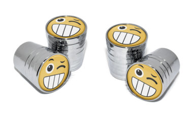 Wink Emoji Valve Stem Caps - Chrome image