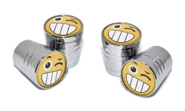 Wink Emoji Valve Stem Caps - Chrome image