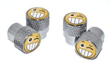 Wink Emoji Valve Stem Caps - Chrome Knurling image