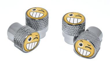 Wink Emoji Valve Stem Caps - Chrome Knurling