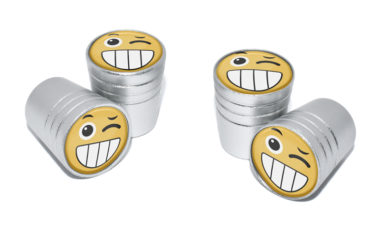 Wink Emoji Valve Stem Caps - Matte Chrome