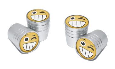 Wink Emoji Valve Stem Caps - Matte Chrome image