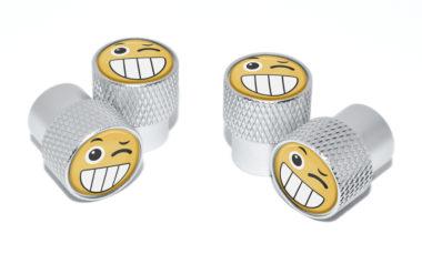 Wink Emoji Valve Stem Caps - Matte Knurling
