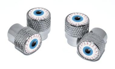 Eyeball Valve Stem Caps - Chrome Knurling