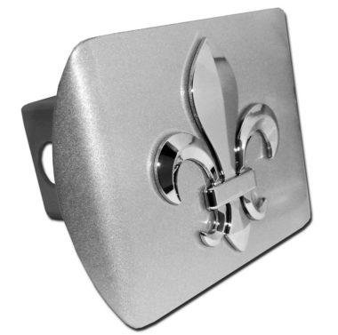 Fleur-de-Lis Emblem on Brushed Hitch Cover