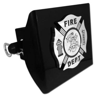Firefighter Emblem on Black Plastic Hitch Cover