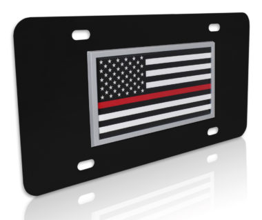 Thin Red Line Fire Flag Black License Plate image