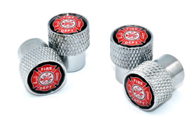Fire Valve Stem Caps - Chrome Knurling image