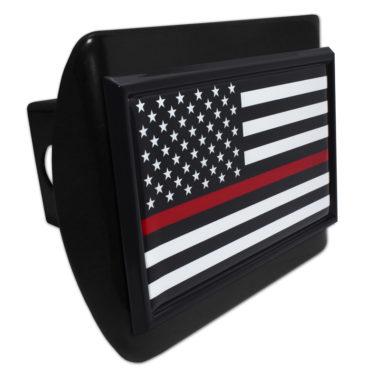 Firefighter Flag Black on Black Hitch Cover image