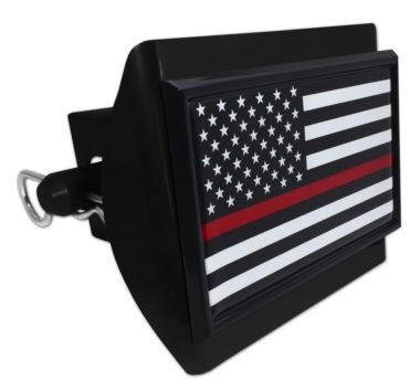 Firefighter Flag Black on Black Plastic Hitch Cover image