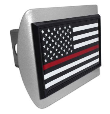 Firefighter Flag Black on Brushed Hitch Cover image