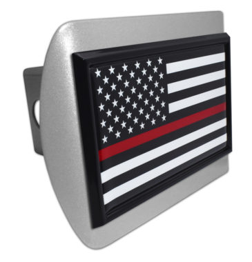 Firefighter Flag Black on Brushed Hitch Cover