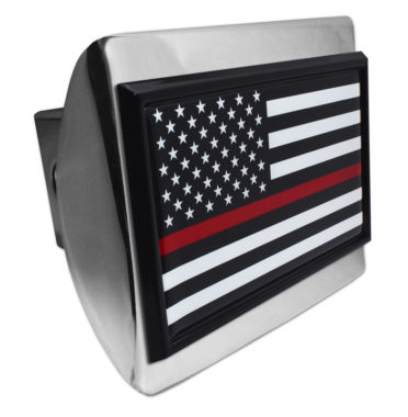 Firefighter Flag Black on Chrome Hitch Cover image
