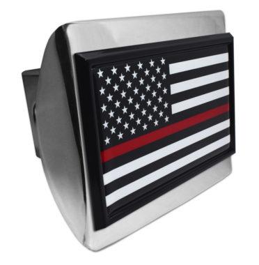 Firefighter Flag Black on Chrome Hitch Cover image