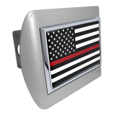 Firefighter Flag on Brushed Hitch Cover image