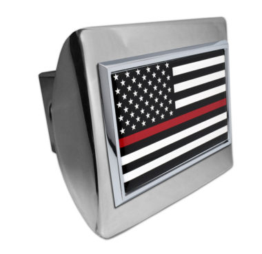 Firefighter Flag on Chrome Hitch Cover