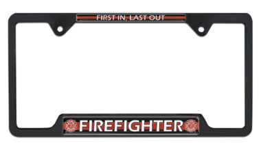 Firefighter Open Black License Plate Frame image