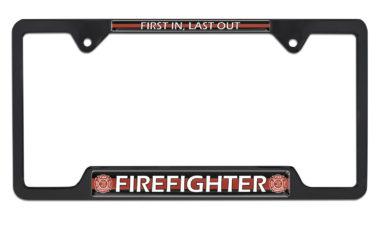 Firefighter Open Black License Plate Frame image