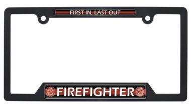 Firefighter Black Plastic Open License Plate Frame image