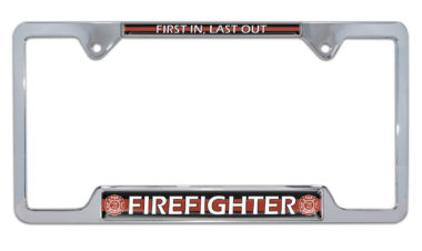 Firefighter Open Chrome License Plate Frame