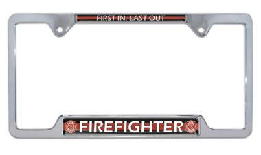 Firefighter Open Chrome License Plate Frame image