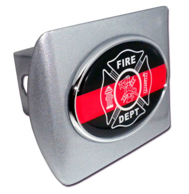 Firefighter Oval Emblem on Brushed Hitch Cover