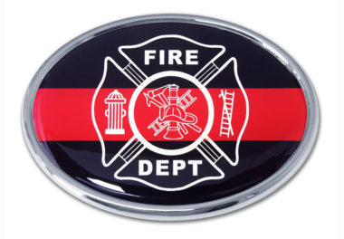 Firefighter Oval Chrome Emblem image