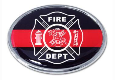 Firefighter Oval Chrome Emblem