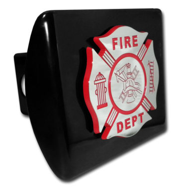 Firefighter Red Emblem on Black Hitch Cover
