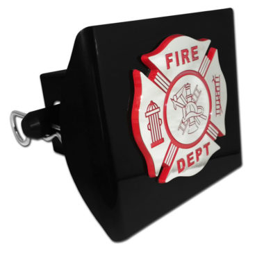 Firefighter Red Emblem on Black Plastic Hitch Cover image