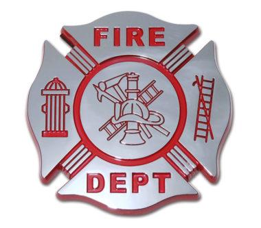 Firefighter Red Chrome Emblem