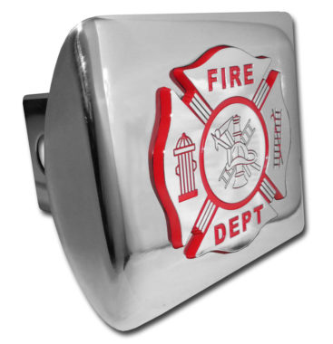 Firefighter Red Emblem on Chrome Hitch Cover