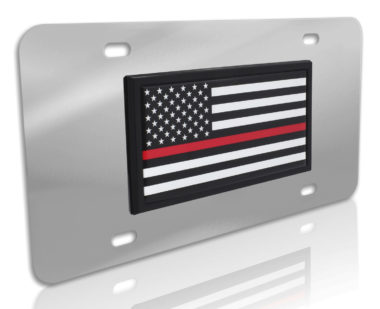 Thin Red Line Fire Flag Stainless Steel License Plate image