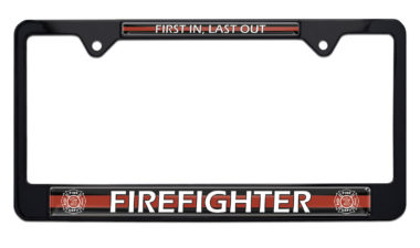 Firefighter Black License Plate Frame image