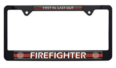 Firefighter Black License Plate Frame