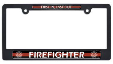 Firefighter Black Plastic License Plate Frame image