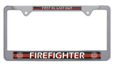 Firefighter Chrome License Plate Frame image