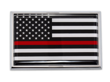 Large Firefighter Flag Chrome Auto Emblem