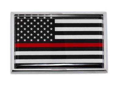 Large Firefighter Flag Chrome Auto Emblem image