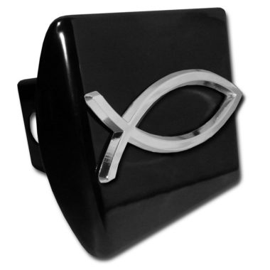 Christian Fish Emblem on Black Hitch Cover
