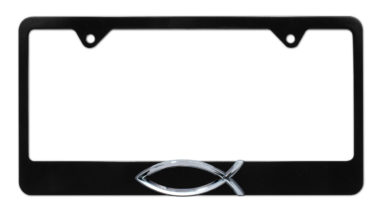 Christian Fish Black License Plate Frame