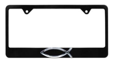 Christian Fish Black License Plate Frame image