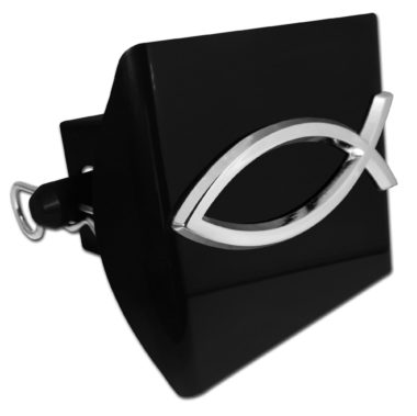 Christian Fish Emblem on Black Plastic Hitch Cover image