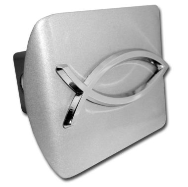 Christian Fish Emblem on Brushed Hitch Cover