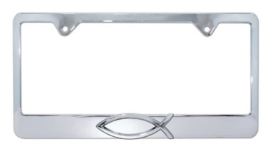 Christian Fish Chrome License Plate Frame
