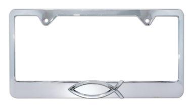 Christian Fish Chrome License Plate Frame image