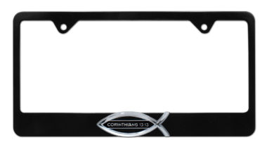 Christian Fish Corinthians 13:13 Black License Plate Frame