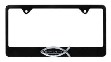 Christian Fish Corinthians 13:13 Black License Plate Frame image