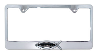 Christian Fish Corinthians 13:13 Chrome License Plate Frame