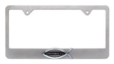 Christian Fish Corinthians 13:13 Brushed License Plate Frame image
